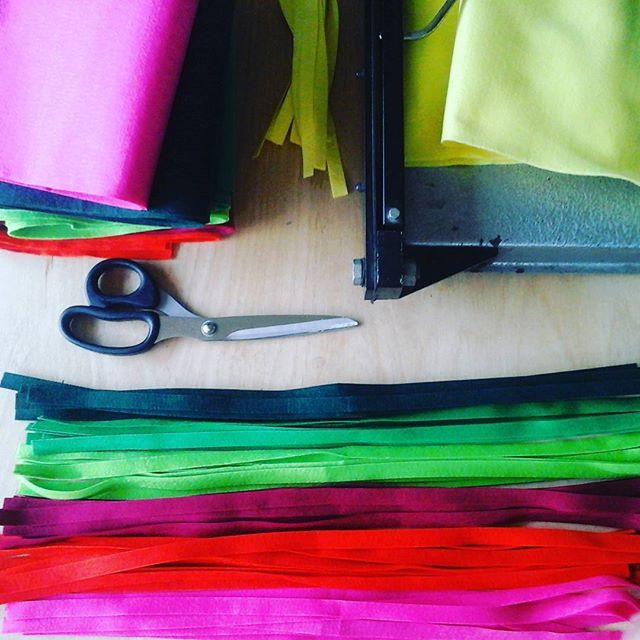 Cutting #felt stripes for my #feltjewelry. Soon at #beadaboo #etsyshop.