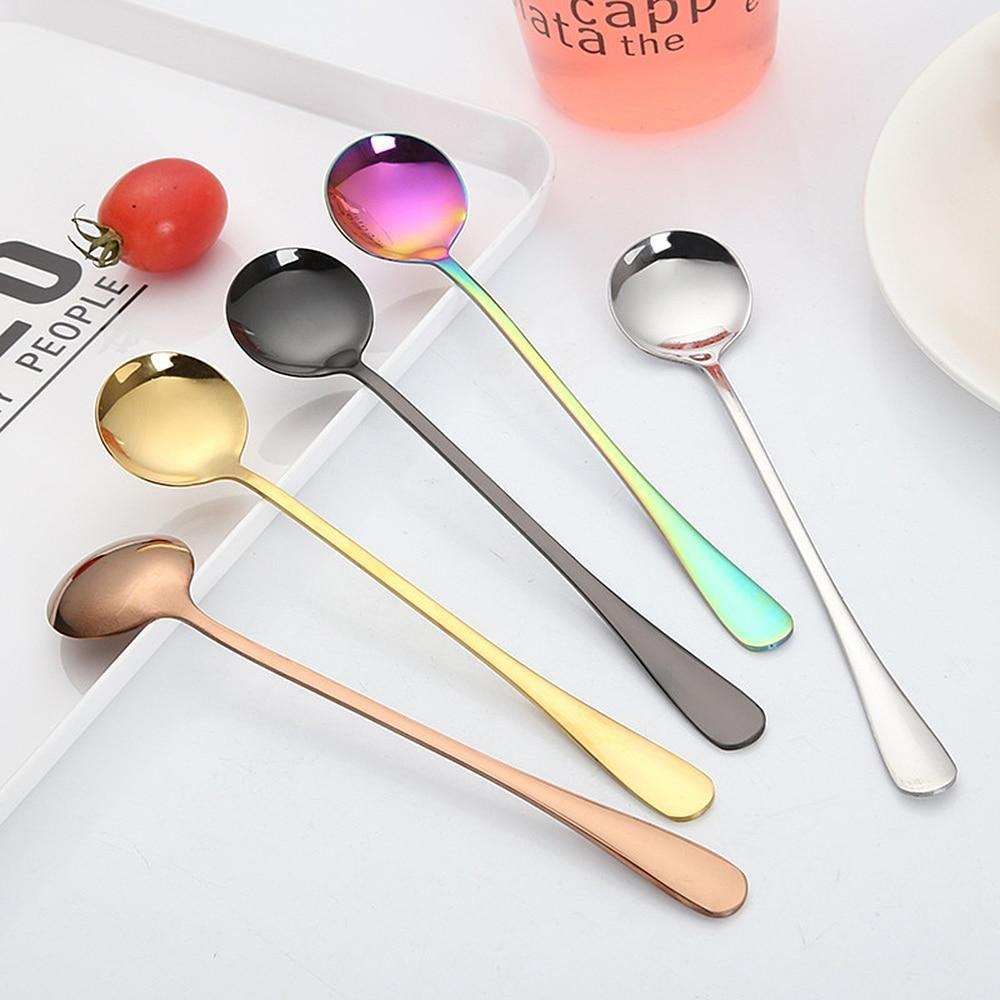 Long Handle Stainless Steel Tableware Dessert Scoop Dinnerware Stir Spoon