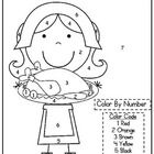 Kindergarten Thanksgiving Color By Number Code Pilgrim