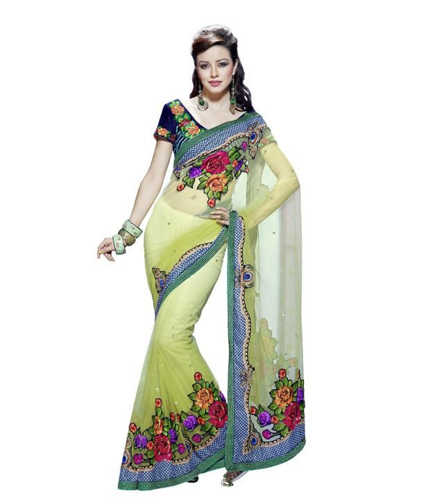 02048f3c56d Stunning Green Embroidered Designer Saree - www.snapdeal.com products women- apparel-sarees  saree  green  indian  beauty