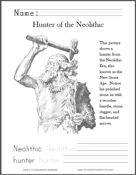 Neolithic Hunter Coloring Page with Handwriting/Spelling