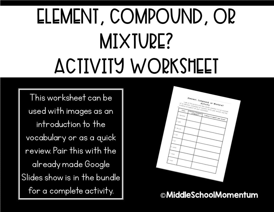 Element Compound Or Mixture Activity Worksheet Only In
