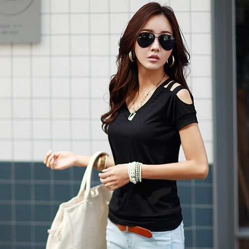 summer tops tees ladies Off shoulder t shirt women t-shirt Cotton female tshirt woman clothes