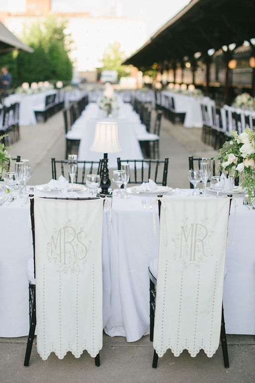 His and Her chair covers for wedding reception dinner  - BHLDN