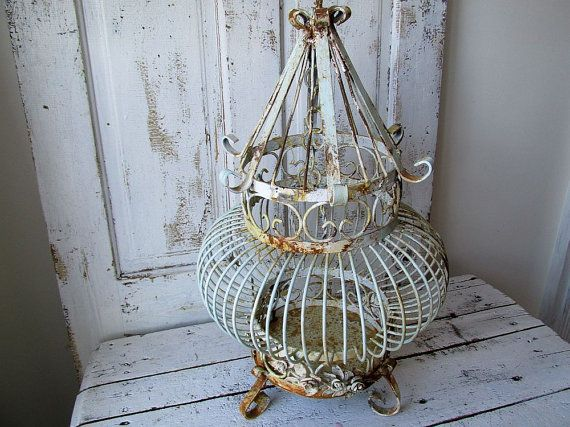 Ornate vintage Bird cage large heavy metal by AnitaSperoDesign