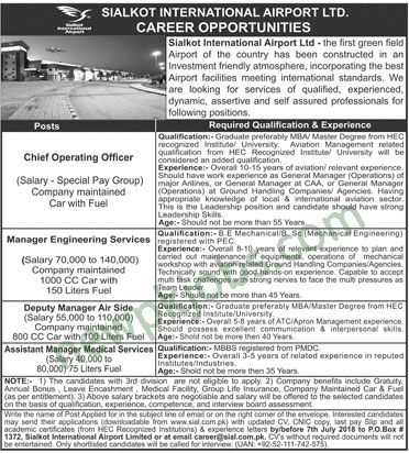 Sialkot International Airport Limited Jobs 2018 Latest for Chief