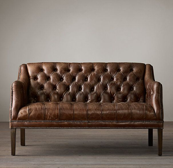 Everett tufted leather settee living room pinterest for Tufted leather dining room chairs