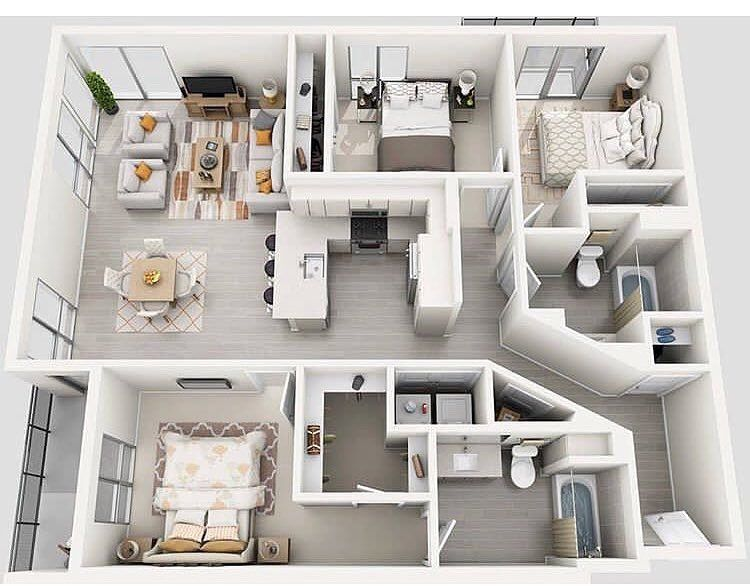 Home Inspiration And Ideas On Instagram Home Design We Would Love To Hear Your Thoughts On This Three Bedroo In 2020 Apartment Layout Apartment Design House Plans