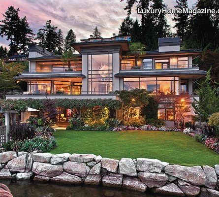 Lovely Luxury Home Magazine Seattle #Luxury #Homes #Waterfront #GlassWalls  #Windows #Architecture