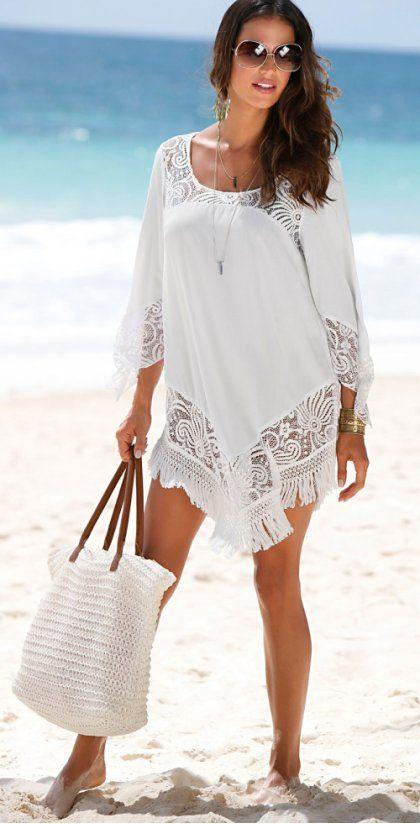 ba6f8cbf2f Žena - Plážové šaty - bílá