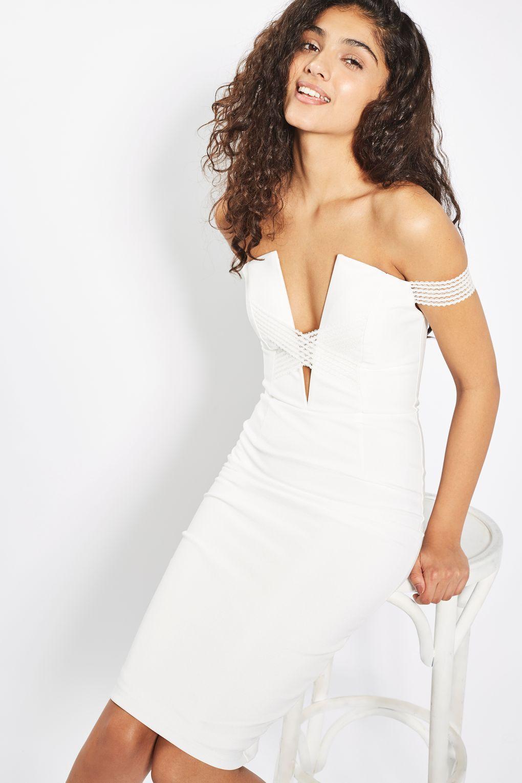 e16aa12583   Sam Faiers Plunge Bardot Cross Trim Midi by Rare - Dresses - Clothing -  Topshop