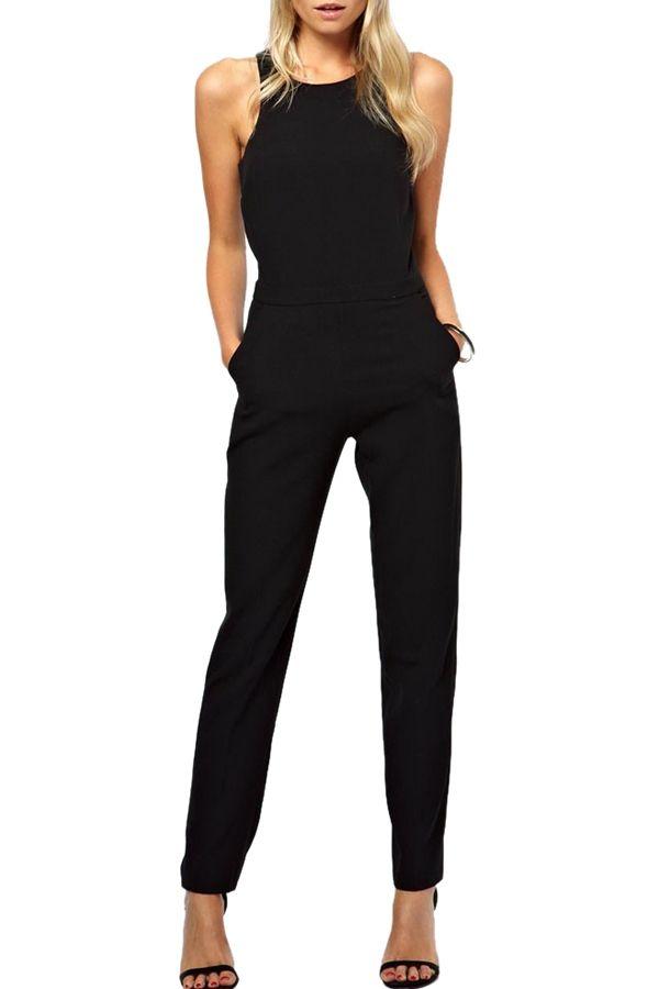 488318dd12d3 Jewel Neck Black Backless Sleeveless Jumpsuit
