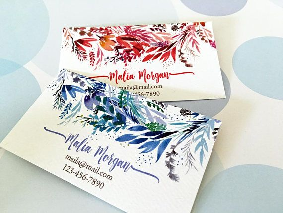 Printed business cards watercolor business card custom business printed business cards watercolor business card custom business card set of 50 colourmoves