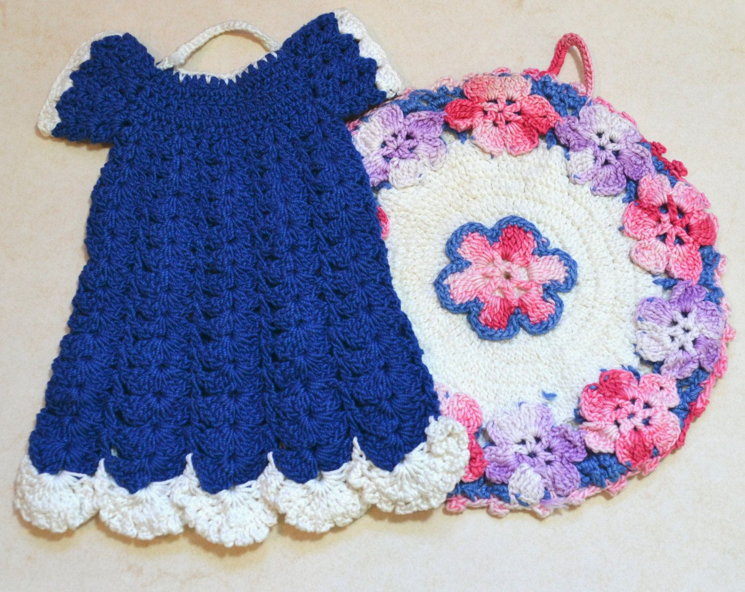 Two Vintage Hand Crocheted Pot Holders...Blue Dress and Pink and ...