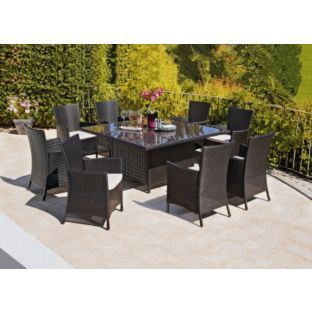 Buy Bali 8 Seater Rattan Effect Patio Furniture Set Brown At Argos Uk Avail Coupon Code Garden Table And Chairs Patio Furniture Sets Outdoor Furniture Sets