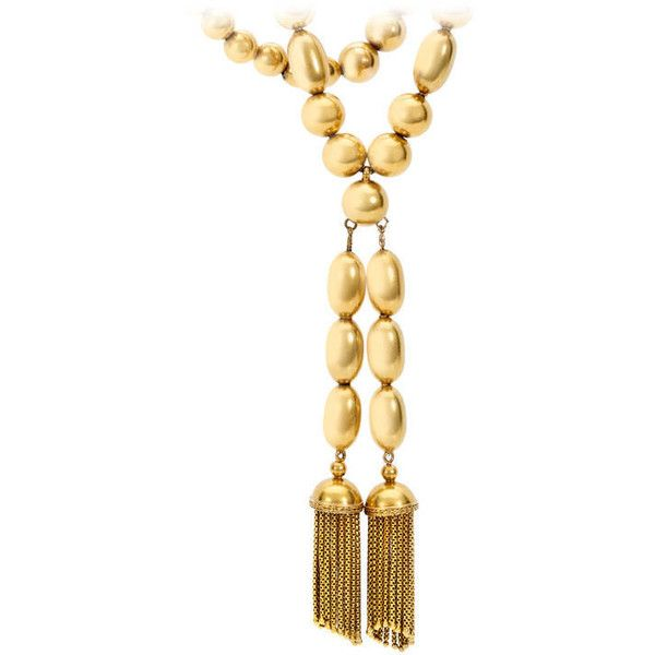 Pre-owned Victorian Gold Bead Tassel Necklace (108 615 SEK) ❤ liked on Polyvore