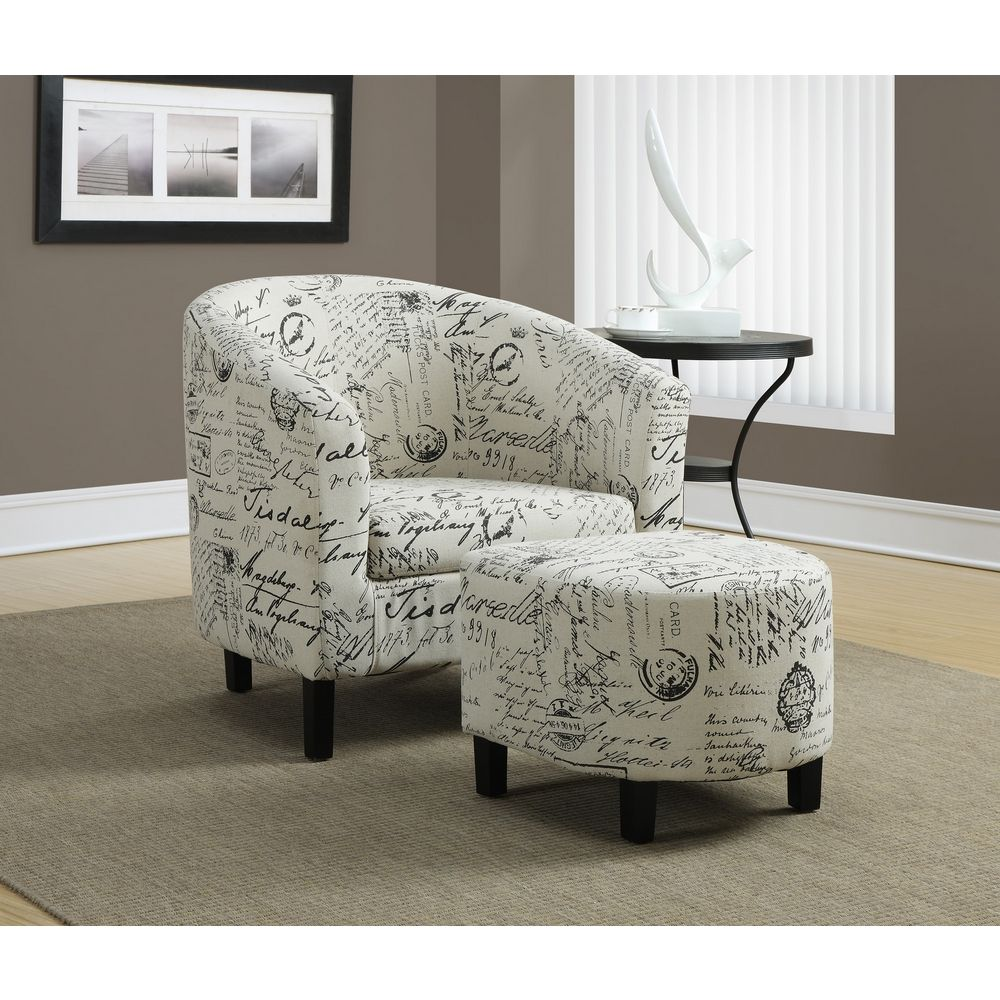 Monrach Vintage French Fabric Accent Chair Ottoman Set Fabric Accent Chair Accent Chairs Furniture