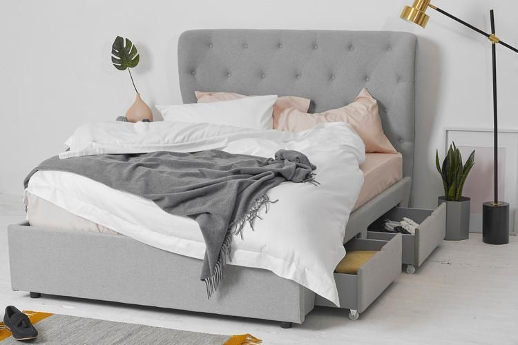 Double Bed With 4 Drawer Underbed Storage Grey Fabric Winged