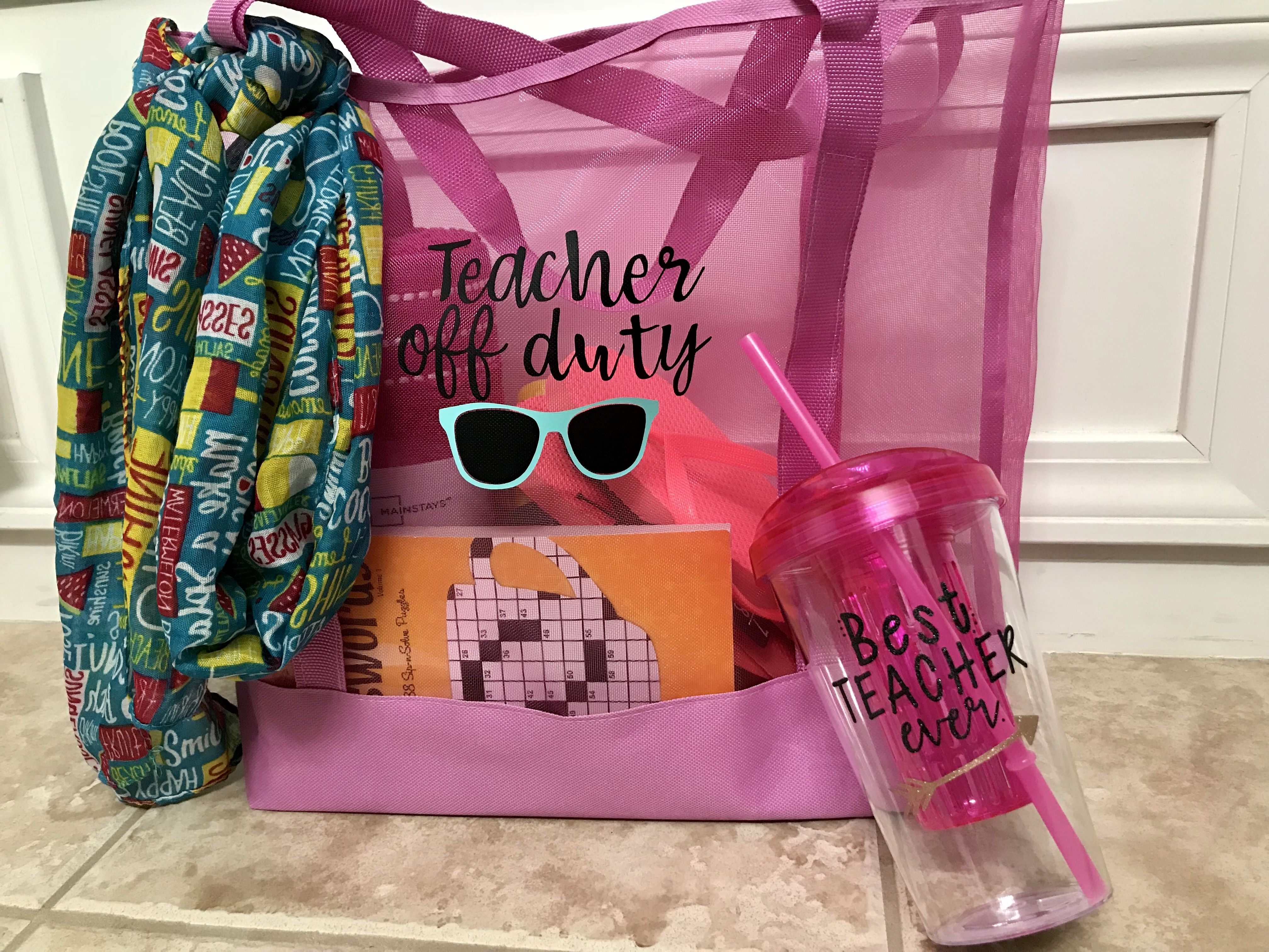 End Of Year Teacher Gift Dollar Tree Finds Beach Bag Cup Scarf