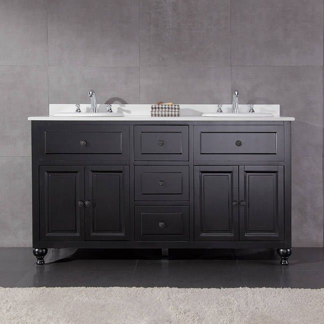 OVE Decors Keith 60-inch Double Sink Bathroom Vanity with Marble Top