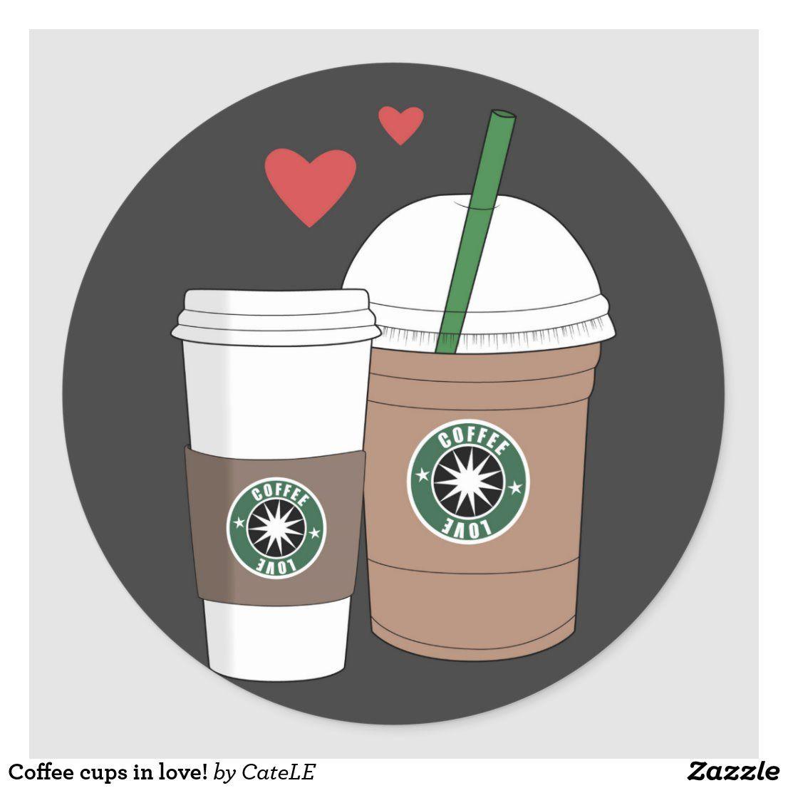 Coffee Cups In Love Classic Round Sticker Zazzle Com In 2021 Starbucks Art Starbucks Pictures Coffee Icon