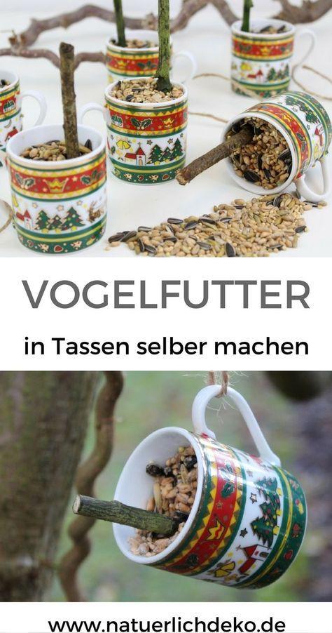 Vogelfutter in Tassen einfach selber machen. In weihnachtlichem Geschirr ein toller Hingucker am Gartenbaum