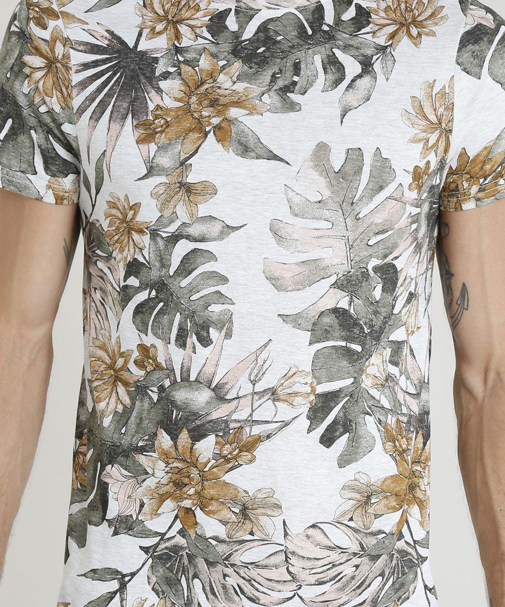 f1c3e30d80 Camiseta-Masculina-Slim-Fit-Estampada-de-Folhagens-Manga -Curta-Gola-Careca-Cinza-Mescla-Claro-9341817-Cinza Mescla Claro 4