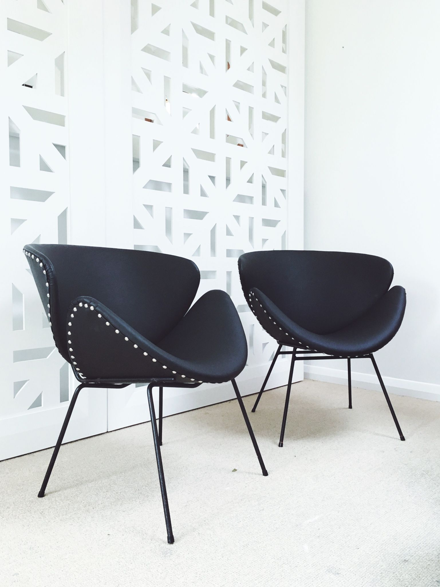 Lip Chair A Pair Of Original Retro Lip Chairs Upholstered In Matte Black