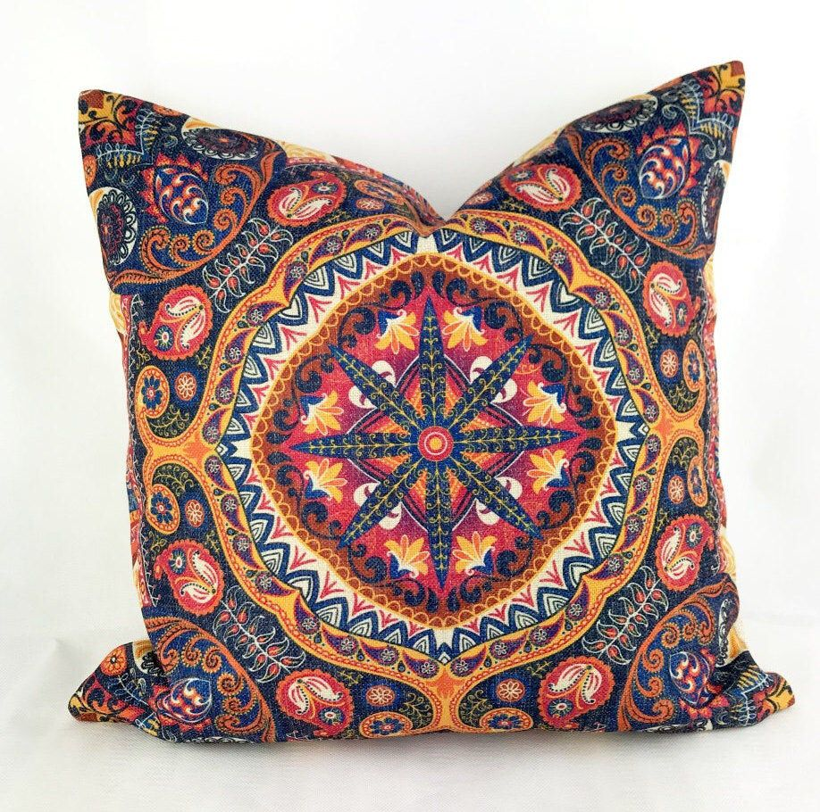 Bohemian Cushion Hippie Cushion Boho Cushions Bohemian Pillow Mandala Cushion Boho Throw Pillow Blue And Red Cushion Aztec Cushion Boho Throw Pillows Boho Cushions Bohemian Pillows