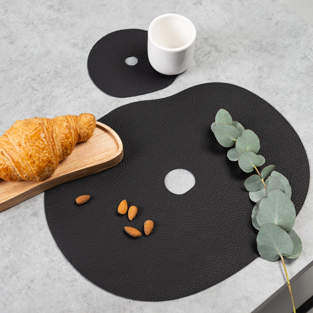 Black Leather Placemats Table Placemat And Coaster Modern Etsy Placemats Table Mats Leather Coasters