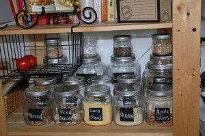 Courageoushomekeeping.com has a super easy idea for making your own chalkboard labels.  Great way to keep your pantry organized.