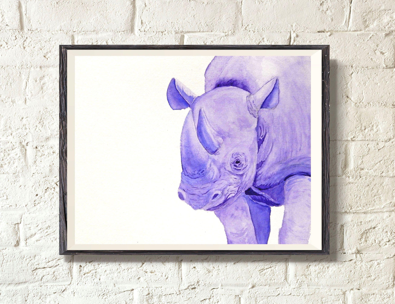 Rhino Art Watercolor Animals Safari Art Rhino Wall Decor Etsy Safari Art Rhino Art Safari Animal Wall Art