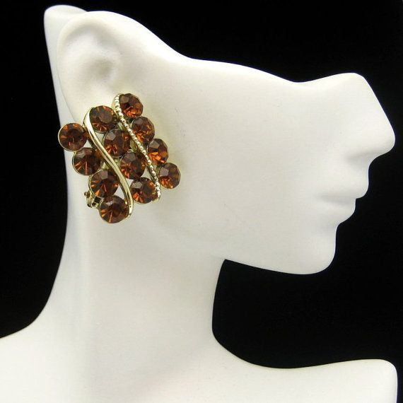 #Lisner Large Topaz #Rhinestones #Earrings Vintage Jewelry from #MyClassicJewelry #MadeInUSA