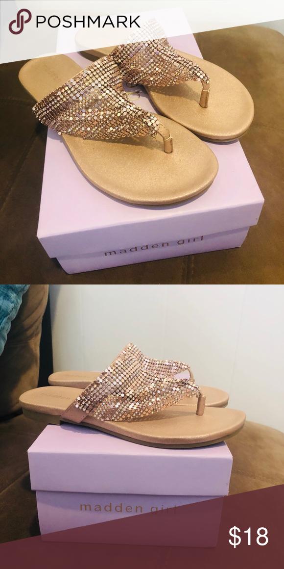 d7d1ffb0e54 Madden girl sandals Never worn Fabulous Condition Mesh rose gold ...
