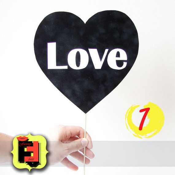 1 Heart Chalkboard Sch Bubble On A Stick For By Funnyfaceprops 8 00