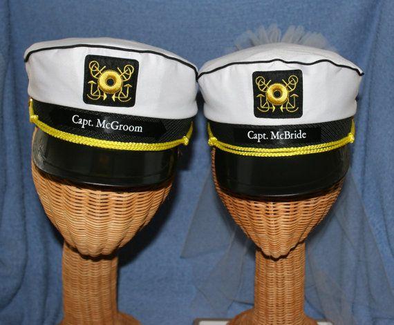 25a0e356d5c Bride   Groom CAPTAIN S HATS - Personalized