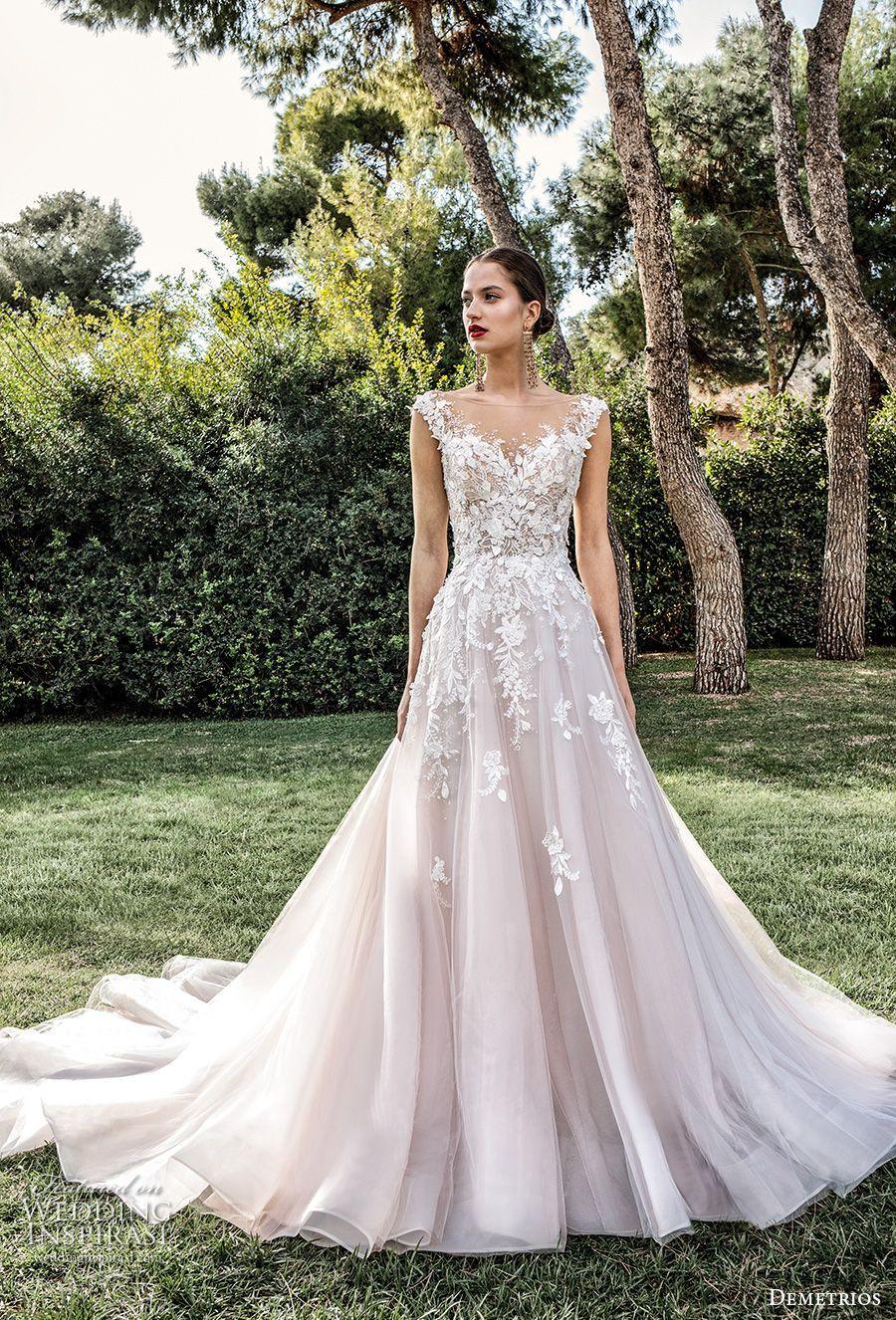 demetrios 2020 bridal cap sleeves illusion bateau sweetheart neckline heavily embellished bodice rom...