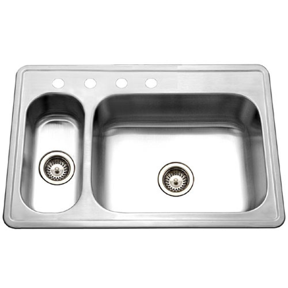 Houzer Lhd 3322 1 Legend 33 By 22 Inch 80 20 Drop In Double Bowl Stainless Steel Sink Click Imag Double Bowl Kitchen Sink Stainless Steel Kitchen Sink Sink