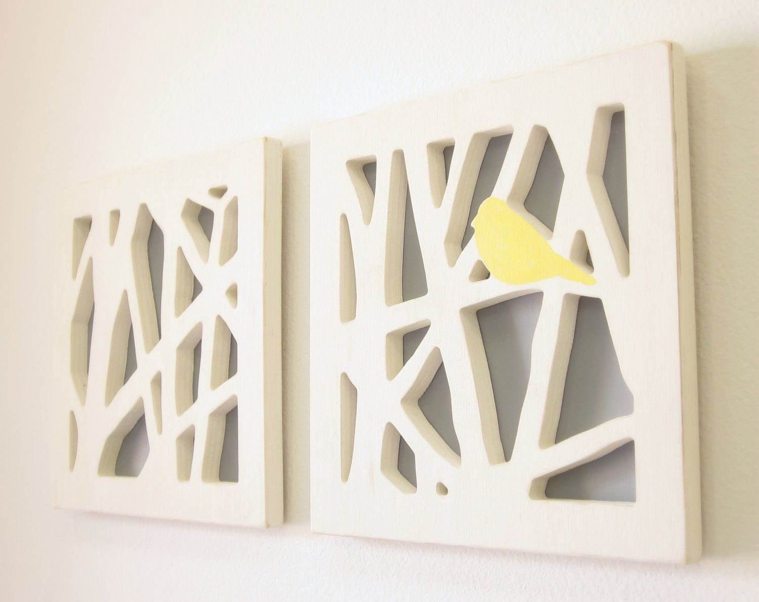 Yellow And Gray Wall Decor yellow bird wall art set, yellow and gray wall art. $95.00, via
