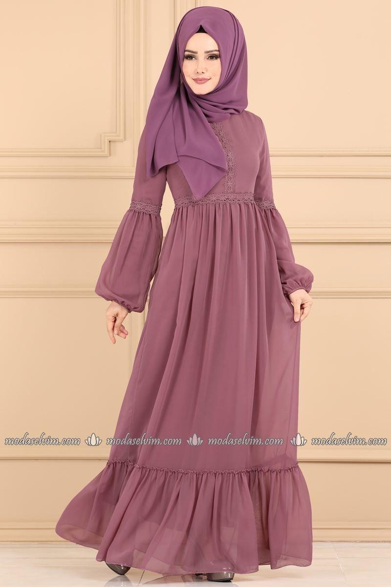 Moda Selvim Firfir Detayli Tesettur Elbise 5187ay342 Gul Kurusu Elbise Moda Stilleri The Dress