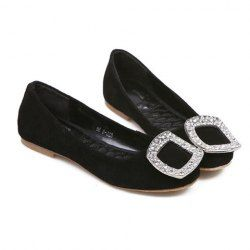 $15.23 Casual Women's Flat Shoes With Stylish Rhinestones Square Buckle Design
