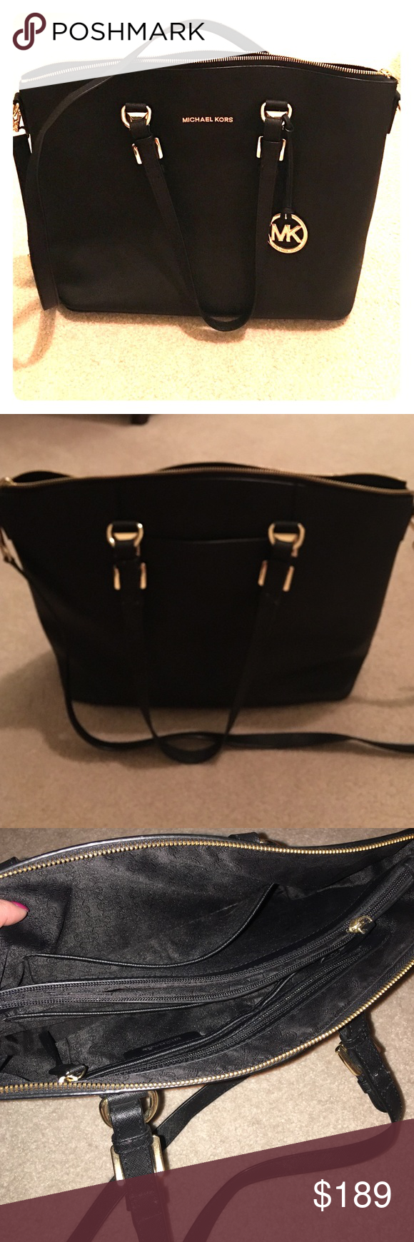 Michael Kors Apple Airbook purse/bag This is the perfect bag with plenty of storage! It has an inner divider pocket that zips closed with your airbook tucked inside. It features plenty of pockets for all of your things including an outside pocket big enough for an iPhone 6 Plus. This bag was barely carried and is in near perfect condition. Cross-body strap and dust bag included. Michael Kors Bags Laptop Bags
