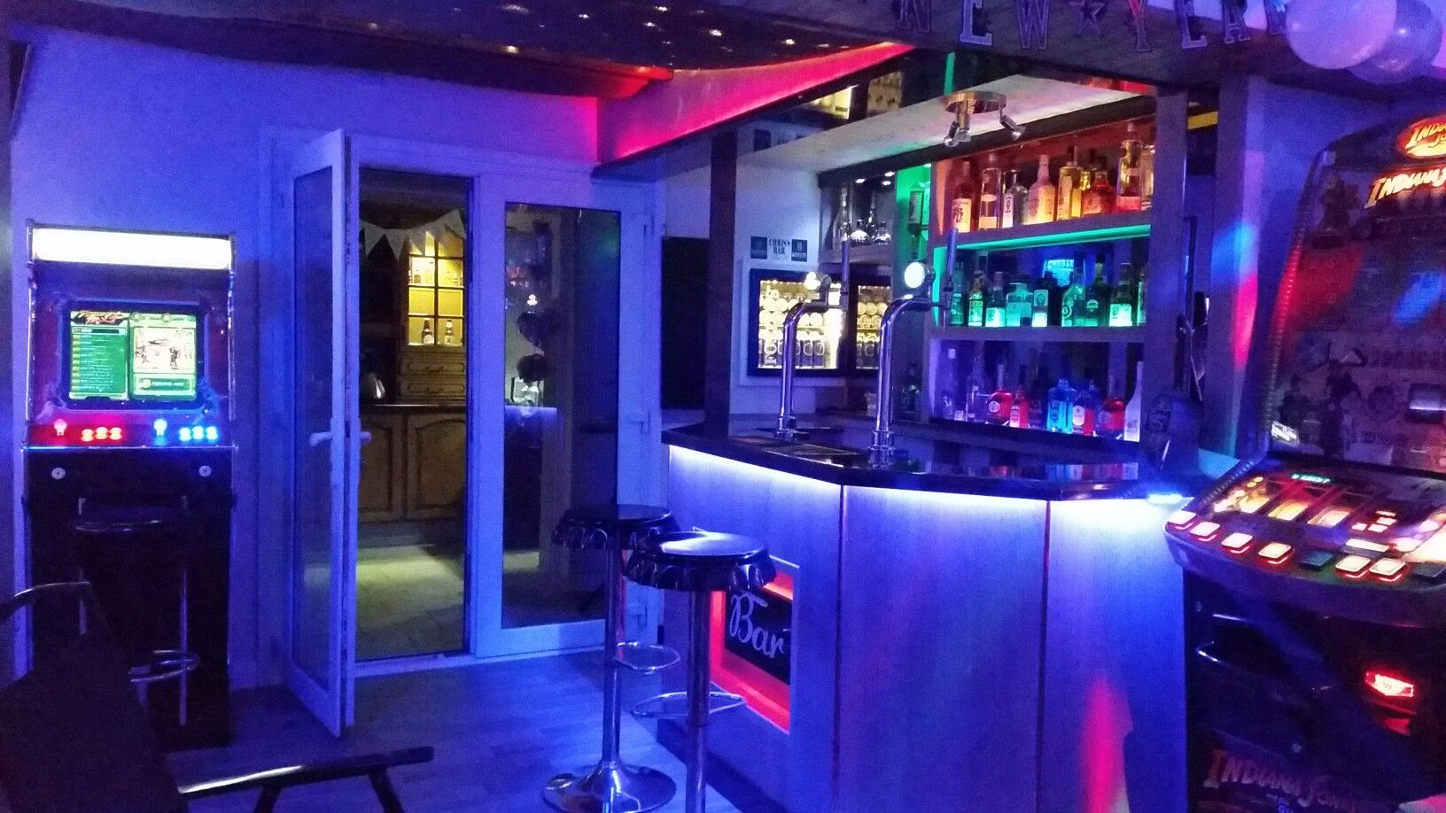 My Home Bar Man Cave With Led Lights Arcade Machine And Jukebox Running