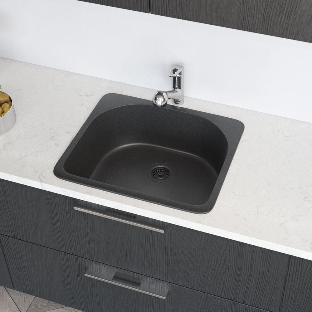 Rene Drop In Composite Granite 25 In Single Basin Kitchen Sink In Carbon Black Drop In Kitchen Sink Sink Granite
