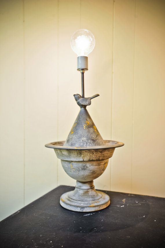 Antique aluminum birdfeeder lamp with a clear by electricheirlooms, $300.00