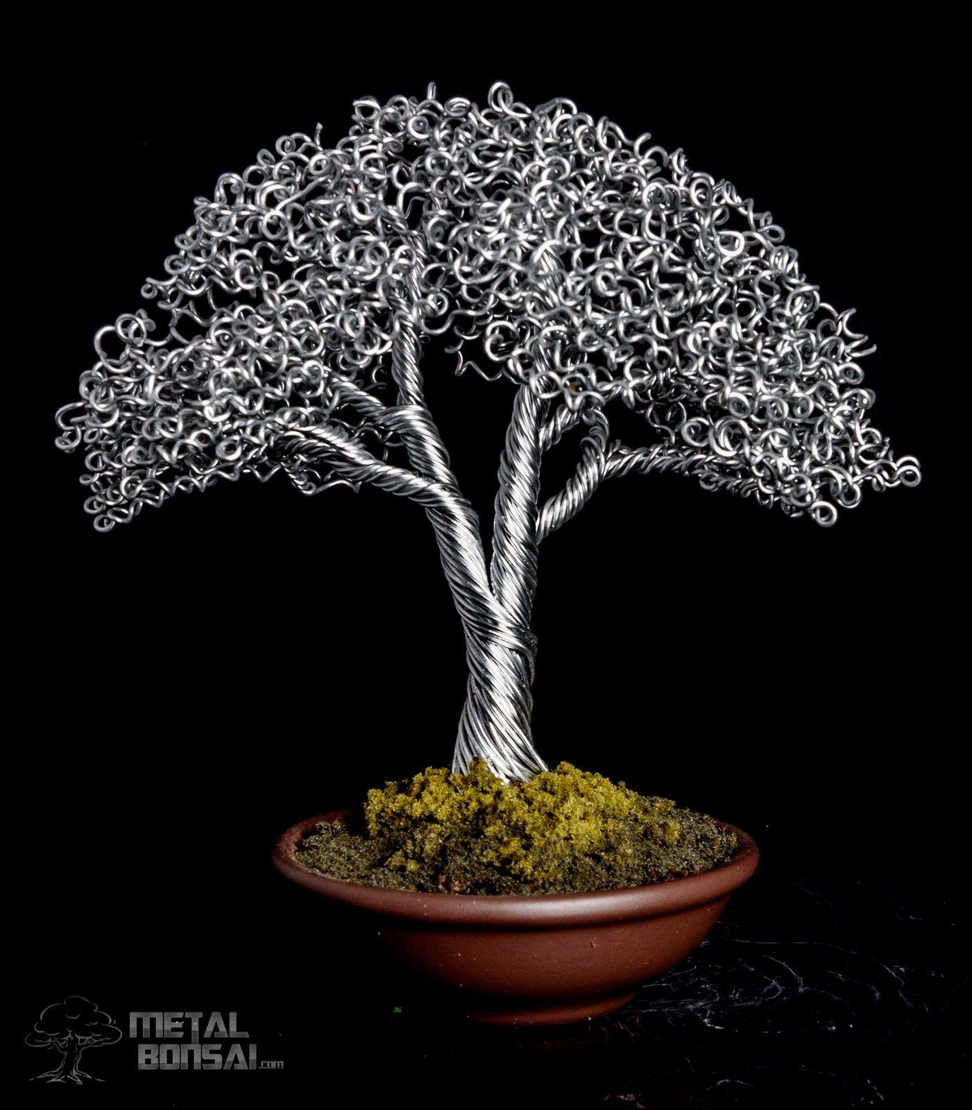 SOLD- Shari Deadwood Bonsai Tree Sculpture in Green Pot – Metal ...