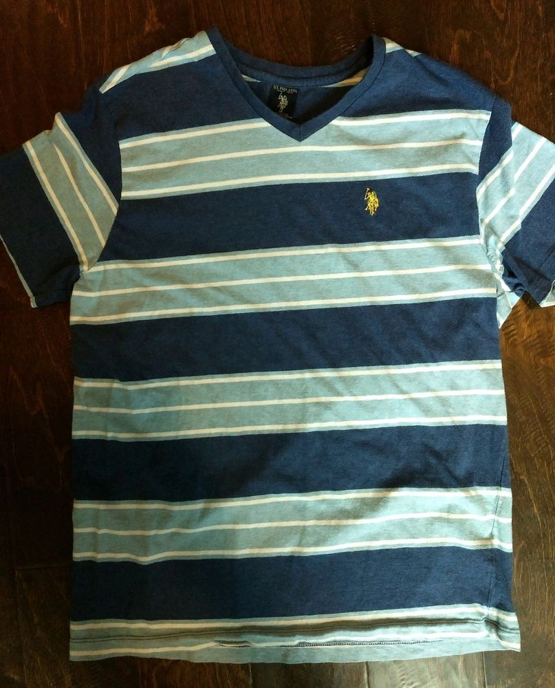 d59b200e1 US Polo Assn Mens T-shirt Medium Blue Striped Yellow Embroidered Logo  V-neck  fashion  clothing  shoes  accessories  mensclothing  shirts (ebay  link)