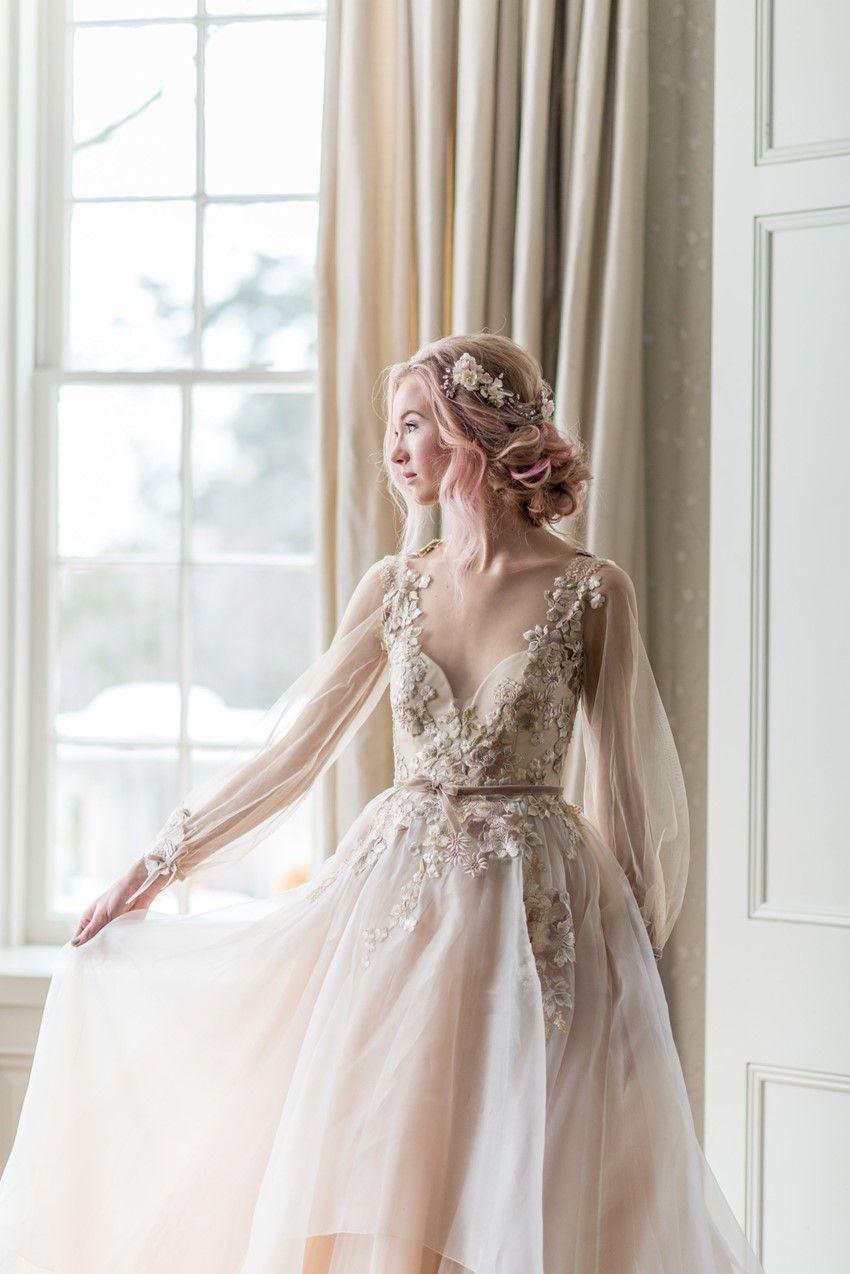 Beautiful blush wedding dress from catherine langlois weddingdress