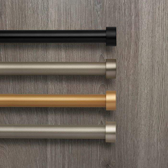 Rodial Elrene Home Fashions Serena Adjustable Curtain Rod With Cap Finials 86 120 Window Draperies Curtain Rods Single Curtain Rods