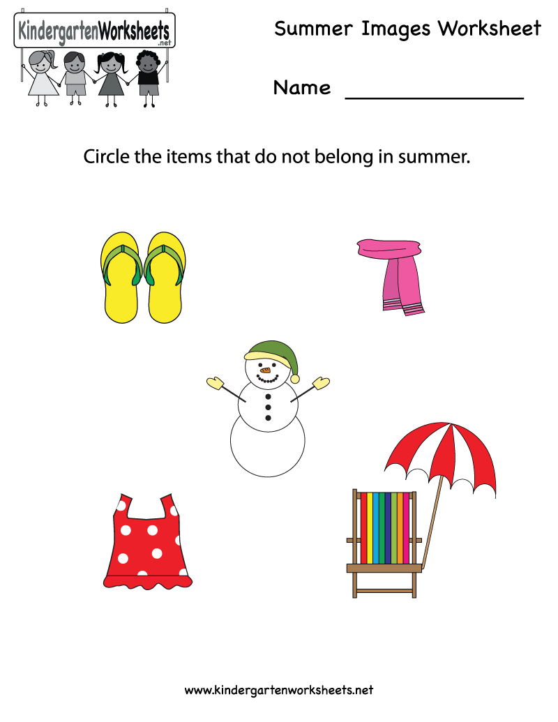 Kindergarten Summer Images Worksheet Printable – Season Worksheets for Kindergarten